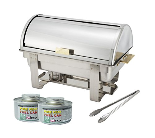 Winware 8 Qt Stainless Steel Roll-Top Chafer, Gold Accent, Chafing Dish Set with 2 Chafing Dish Fuel and 16-Inch Stainless Steel Multi-Function Tong