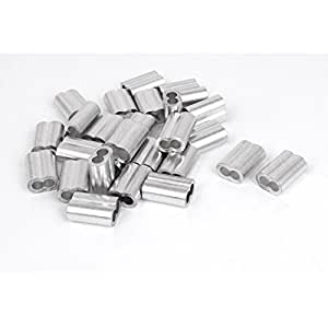 1/5-inch Wire Rope Aluminum Sleeves Clip Fittings Cable Crimps 50pcs