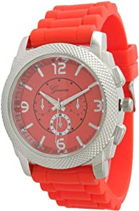 Large Unisex Geneva Chronograph Style Silicone Watch - Coral/Silver