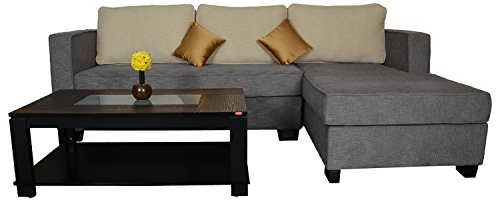 Kurl-on Elegante Lateral + Meridian L-shaped Sectional Sofa (Grey and Cream)