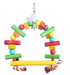 Tinfiber Pet Toys Naturals Wooden Rope Swing Bird Toy