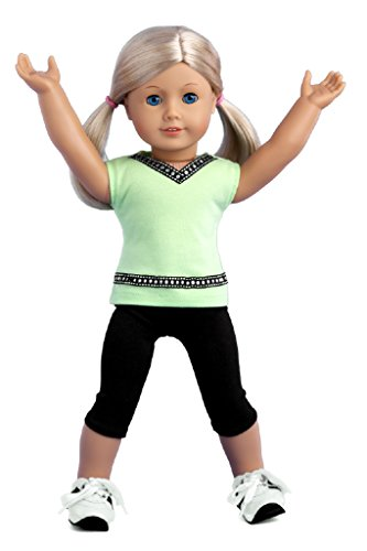 Move It! – Workout outfit includes black leggings, green tank top and running shoes – American Girl Doll Clothes