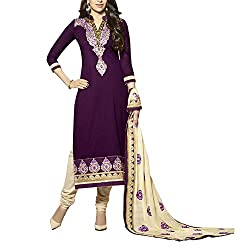 Destiny Enterprise Embroidered Cotton Unstitched Party Wear Voilet Color Dress Material for Women