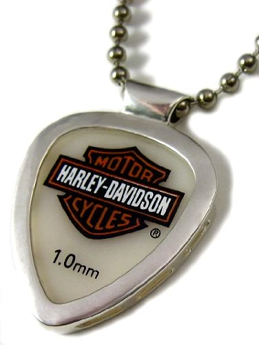 Harley Davidson Guitar Pick & Pickbay Guitar Pick Holder Stainless Steel Pendant Necklace &