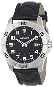 Wenger Men's 70485 Alpine Black Dial Black Leather Watch