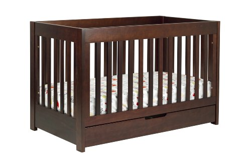 babyletto Mercer 3-in-1 Convertible Crib with Toddler Rail, Espresso