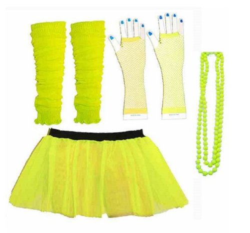 Four Piece Neon Yellow Adult Costume Set