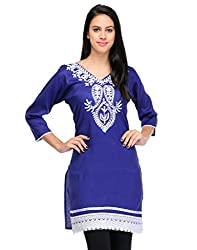 Ambitione Red-Blue Colored Band Collar Kurti_XL