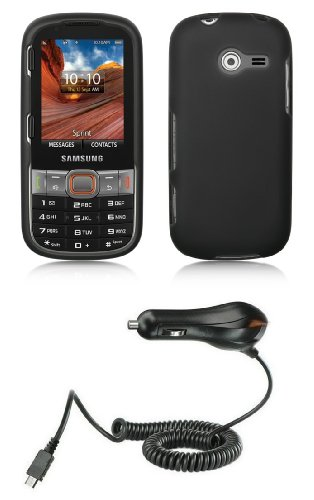 Samsung Array / Montage Sph-M390 Premium Combo Pack - Black Hard Shield Case + Atom Led Keychain Light + Micro Usb Car Charger