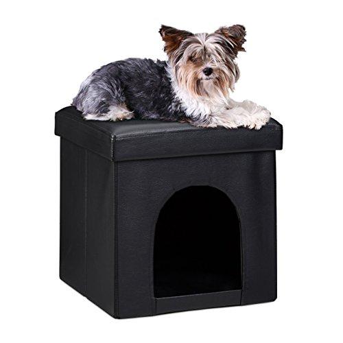 relaxdays-cuccia-puff-pieghevole-per-cane-gatto-finta-pelle-nero-misure-38-x-38-x-38-cm