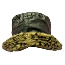 Luxury Divas Reversible Black Leather & Plush Leopard Bucket Hat