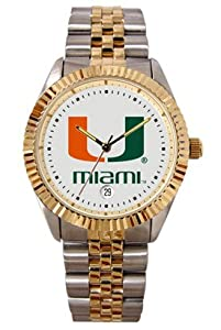 Miami Hurricanes-University Mens Executive Stainless Steel Watch by SunTime