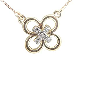 Fabulous Real Round Brilliant Diamond Flower Shaped Fancy Pendant With Chain, Yellow Gold Plated 925 Silver