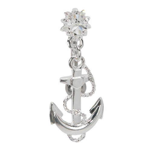 Reverse Anchor Navel Ring with Clear Cz Jewel