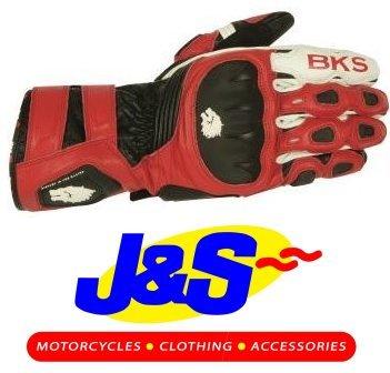 BKS Couronne en cuir moto gants gants de moto Racing Rouge J & S