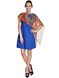 Meiro High Quality Women's floral scarf Dress (15126_royal-blue_X-Large), designed in New York