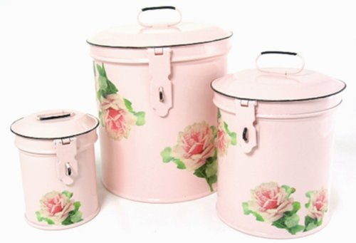 Retro Vintage Canister Set ~ Kitchen Storage Canisters ~ Decorative Containers ~ Shabby Chic Pink Enamel with Shabby Antique Rose