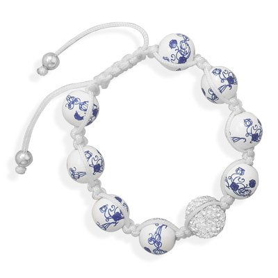 White Ceramic and Pave Crystal Bead Macrame Bracelet Adjustable Length