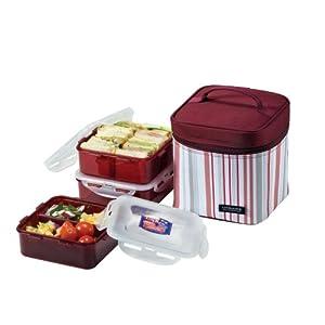 Lock & Lock Picnic Lunch Box Bento Set - HPL823DP, Purple Stripe (Small)