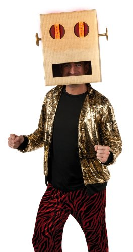 Lmfao Shuffle Bot Headpiece With Led Light, Brown, One Size Costume