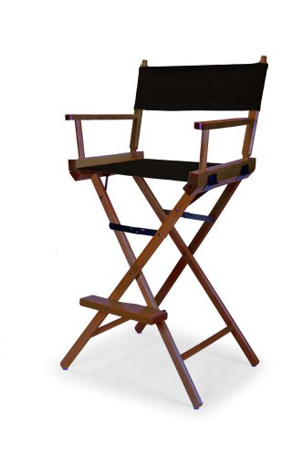 Telescope Casual Heritage Bar Height Director Chair, Black with Walnut Frame