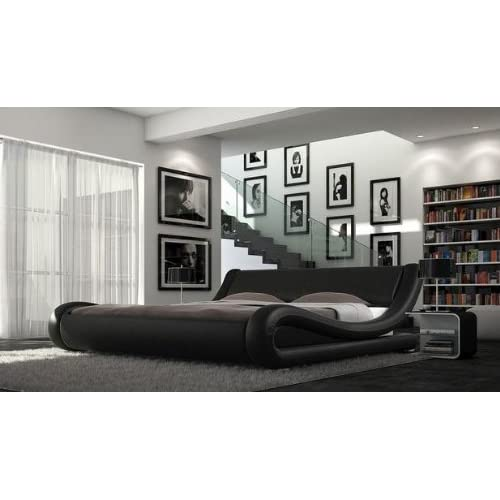 Cala Faux Leather Italian Bed and Memory Foam Mattress (Black, 5ft King)