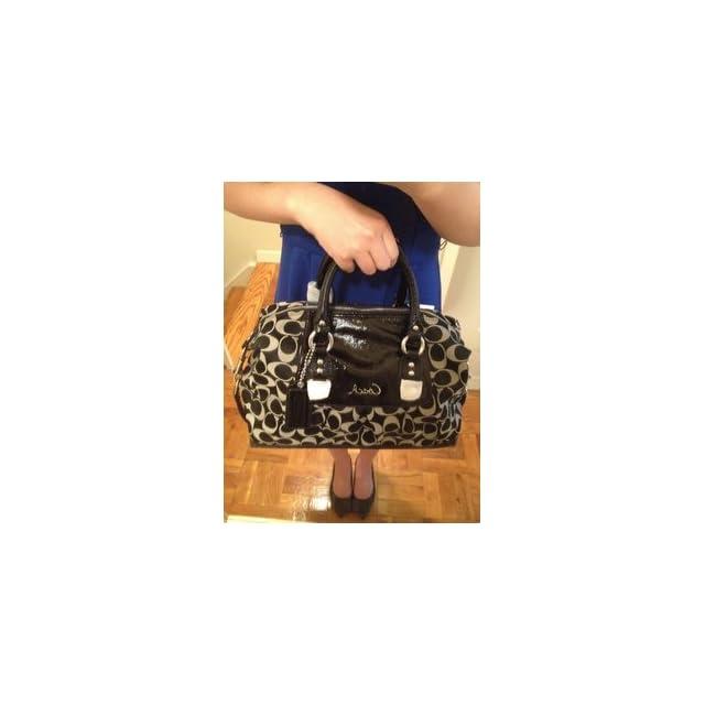 e8f3d730f6 Coach Signature Ashley Sabrina Duffle Satchel Bag Purse Tote 15443 Black  White