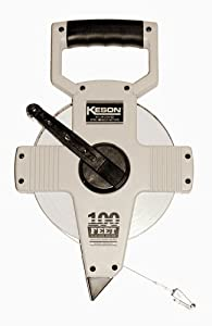 Keson NR10100H Nylon Coated Steel Blade 100-Foot Measuring Tape In Tenths, Zero Point At Tape End, Hook End