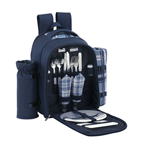 Find Cheap VonShef 2 Person Blue Picnic Backpack Hamper with Cooler Compartment includes Tableware &...