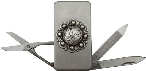 Money Clip With Scissors Knife Nail File Decorated With Berry Concho