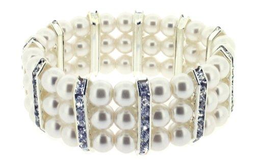 Lauren Lee 3 Row Glass Pearl with Clear Crystal Rhondel Stretch Bracelet of 7 cm