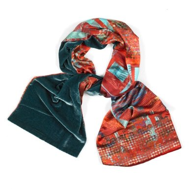 Velvet Techno Silk Scarf (Red)
