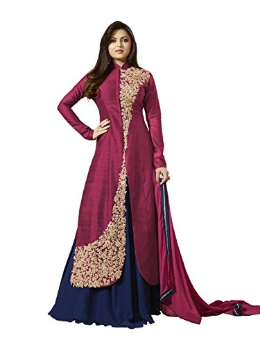 AnK Designer beautiful Rani Pink & Blue Banglori Long Semi Stitched Indo Western Style Salwar suit