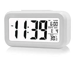 FirstDecor WHITE Morning Clock, LED Clock Slim Digital Alarm Clock Large Display Travel Alarm Clock (Temperature Display, Snooze Function, Smart Back-light)
