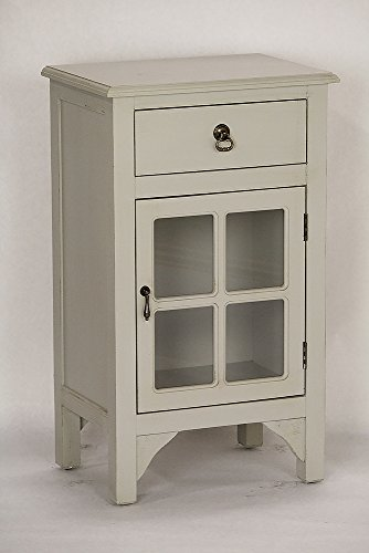 Heather Ann Creations Single Door/Drawer Wooden Cabinet with 4 Square Glass Inserts, 30″ x 18″, Light Grey