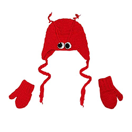 Pinbo Baby Boys Girls Lobster Hat Gloves Knitted Crochet Photography Prop