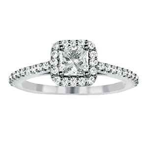 1.35 CT Princess Cut Diamond Engagement Ring in 14k White Gold Micro Pave Setting - Size 6