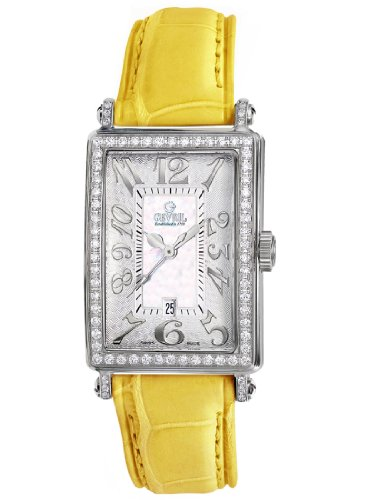 Gevril Women's 7249NV.2 White Mother-of-Pearl Genuine Alligator Strap Watch