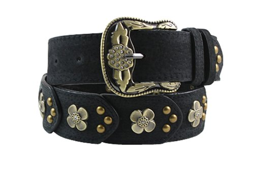 Herebuy - Vintage Leather Belts for Women Western Cowgirl Rhinestone Belts (Black)