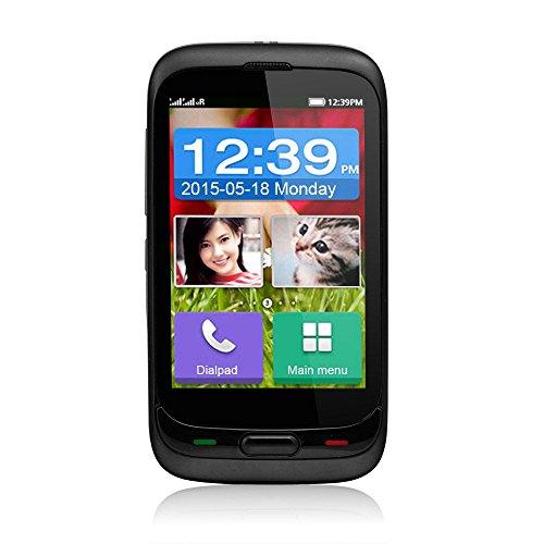 DaXian DX528 3,5 Zoll Seniorenhandy Notrufhandy Handy ohne Vertrag Touchscreen mit SOS Taste 128MB Speicher unterstützt 2GB Dual SIM 1,3MP Kamera Bluetooth3.0 FM Radio GPS Taschenlampe mit MEMTEQ® Putztuch bestes Gedchenk für Vater und Mutter Schwarz