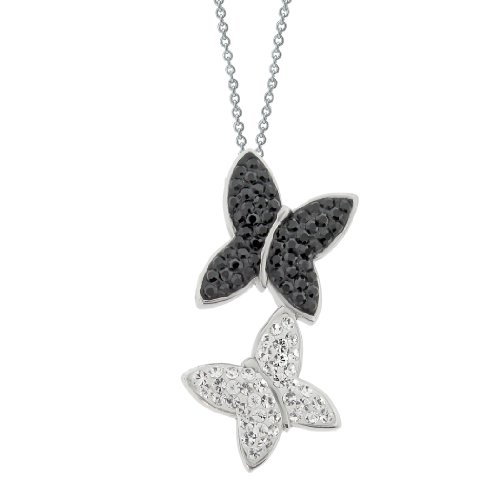 Stainless Steel Butterfly Shape Pendant Necklace with White and Black Swarovski Crystal Chain, 18
