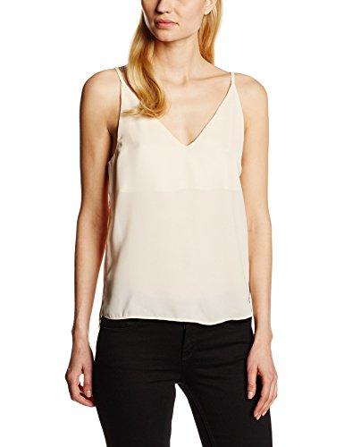 TOM TAILOR Denim Cropped Chiffon Strap Top, Camicia Donna, Rosa (Soft Peach 5578), 42