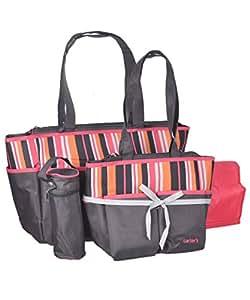 carter 39 s tote diaper bag set pink gray baby. Black Bedroom Furniture Sets. Home Design Ideas