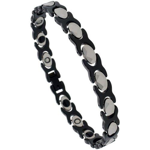 Sabrina Silver Tungsten & Ceramic 2-Tone (Black & Gun Metal) XO Magnetic Bracelet w/ Diamond-shaped Facets, 5/16 in. (8mm) wide (BTN125)