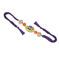 Fascinating Multi-Color Designer Rakhi with Purple Reshmi Dori