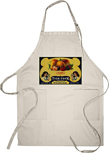 Tick Tock Rhubarb Label (Cotton/Polyester Chef's Apron)