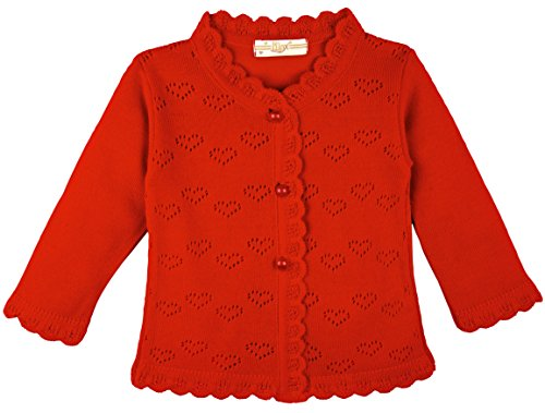 Lilax Baby Girls' Little Hearts Knit Cardigan Sweater 6M Red