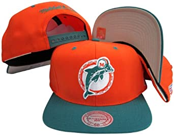 Miami Dolphins Orange Aqua Two Tone Snapback Adjustable Plastic Snap Back Hat Cap by Mitchell & Ness