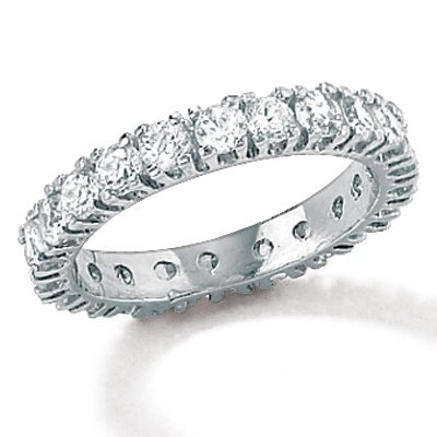 Lux Sterling Silver Cubic Zirconia Eternity Band Size 9