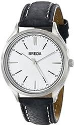 Breda Men's 1680B Silver-Tone Watch with Black Band